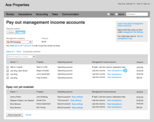 Wireframes of playing out management income
