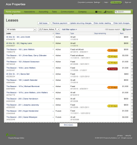 Table showing leases in the system
