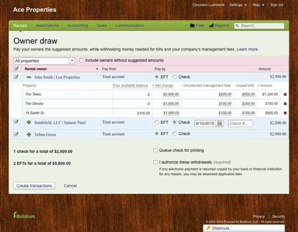 Screenshot of the application - the owner draw screen showing the calculation for money withheld
