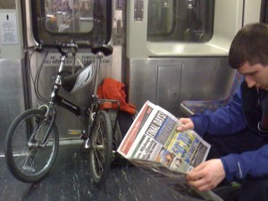 Bike in Folded Position on the Train