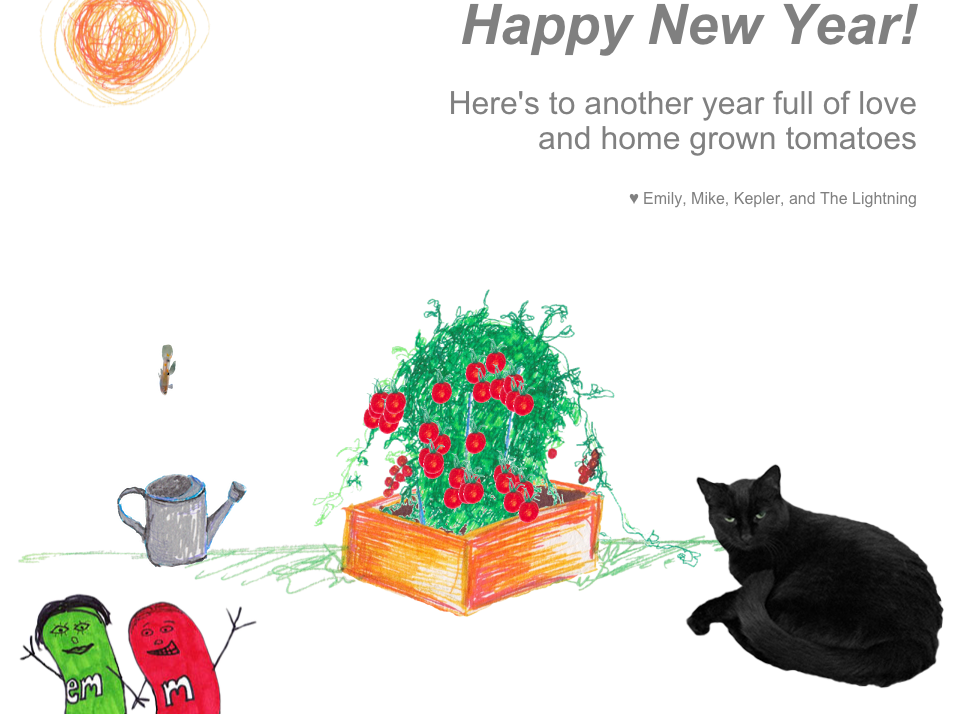Illustration showing a tomato plant with a guppy, cat, and two cartoon figures