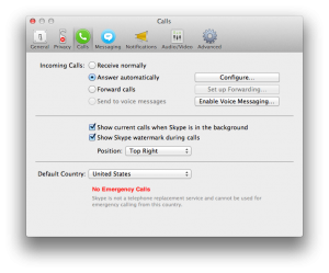 Screenshot of Skype - Answer Calls Automatically option