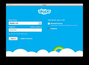 Screenshot of Logging Kepler into Skype