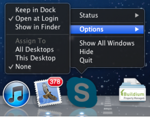 Screenshot showing Open Application at Login option