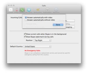Screenshot of Answer Automatically with Video option in Skype