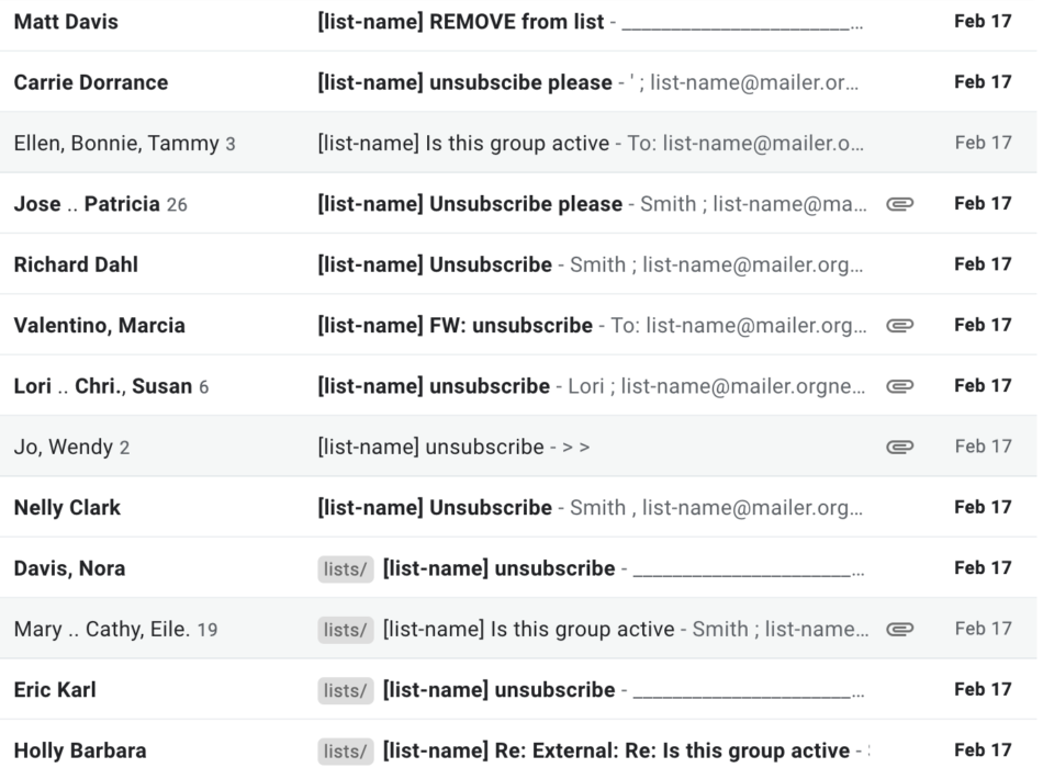 index of many unsubscribe emails sent to the list