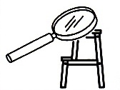 Step stool and magnifying glass