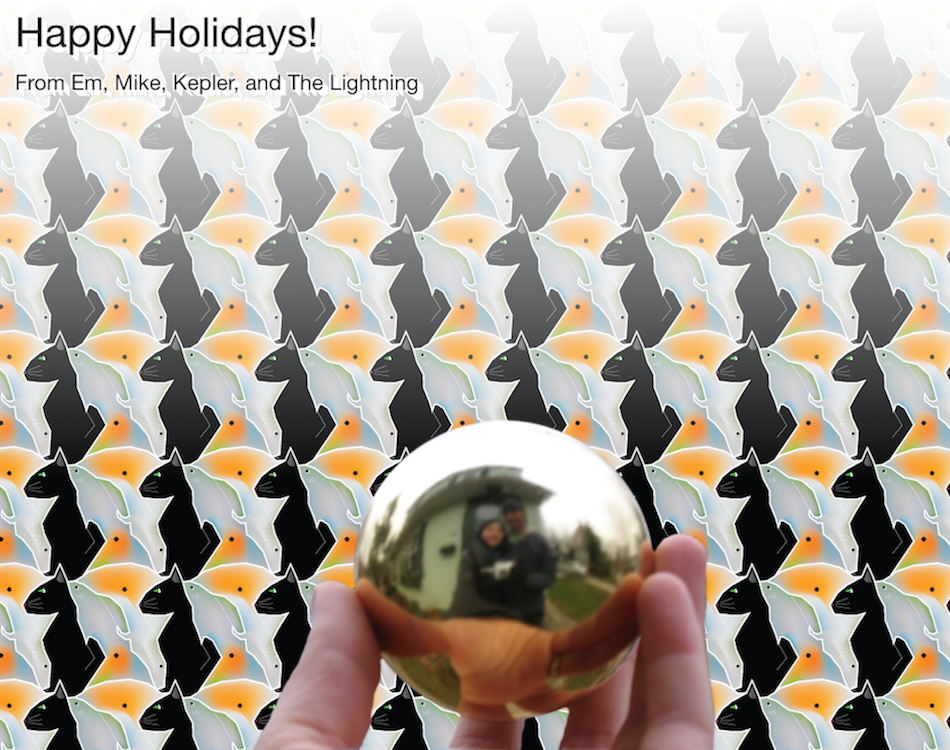 Tesselation with a cat and two fish. In the forgeground, a hand holding a sphere with our reflection