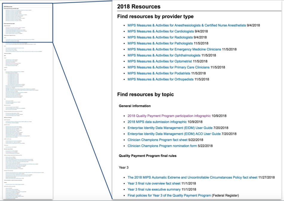 Screenshot of old Resource Library - showing a long index of links